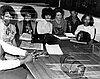 Adams High School students, 1970. From left: Sandra Jackson; Yvonne Wesby; Linda Worthum; Mrs. Lothspeich; Ronnie Anderson; Maria Allen.