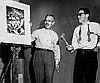 Louis Bunce (l) and Manuel Izquierdo serve as auctioneers at Portland Art Museum's benefit for Michele Russo, Nov. 1951.