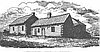 Engraving of the original Methodist mission lived in by Jason Lee, based on a sketch made by U.S. Exploring Exped. in 1841.