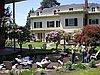 Western Seminary students at fish pond behind Armstrong Hall.