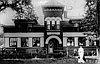Willamette Falls Railway depot office and barn, West Linn,1909.
