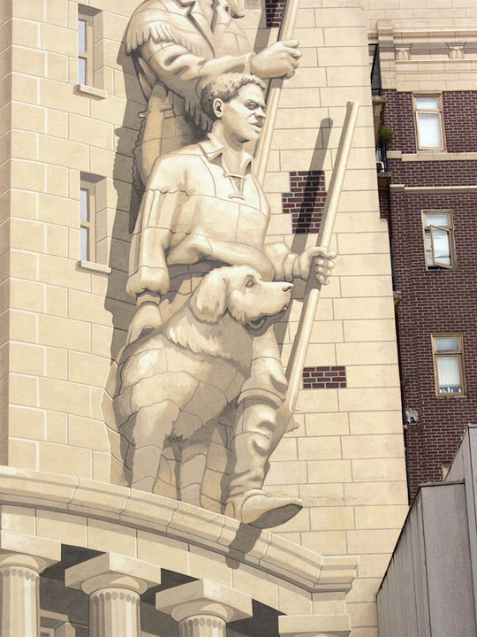 This image is a detail from Richard Haas' 1989 mural on the west side of downtown Portland's Sovereign Building, home of the Oregon Historical Society. It depicts York, the only African American member of the Lewis and Clark Expedition.